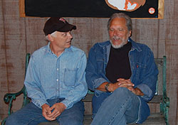 Jorma Kaukonen chatting with Gerry Mantel about Michigan's Upper Peninsula, August 23, 2008 at Fur Peace Ranch