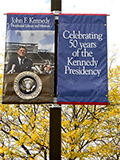 banner at JFK Library and Museum celebrating 50th anniversary of his presidency